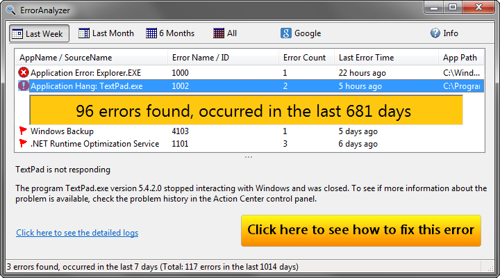 Click to view Error Analyzer screenshots